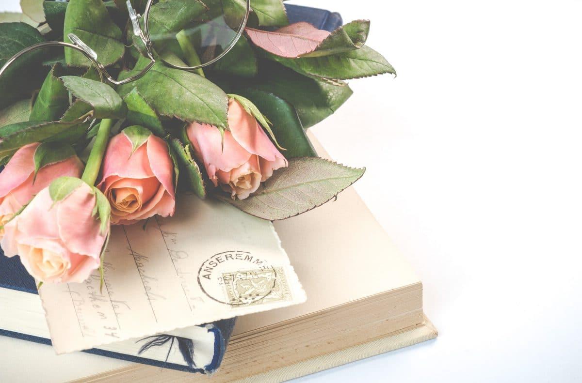 Rosa Rosen mit Brille auf Brief und Büchern gelegt auf weißem Hintergrund