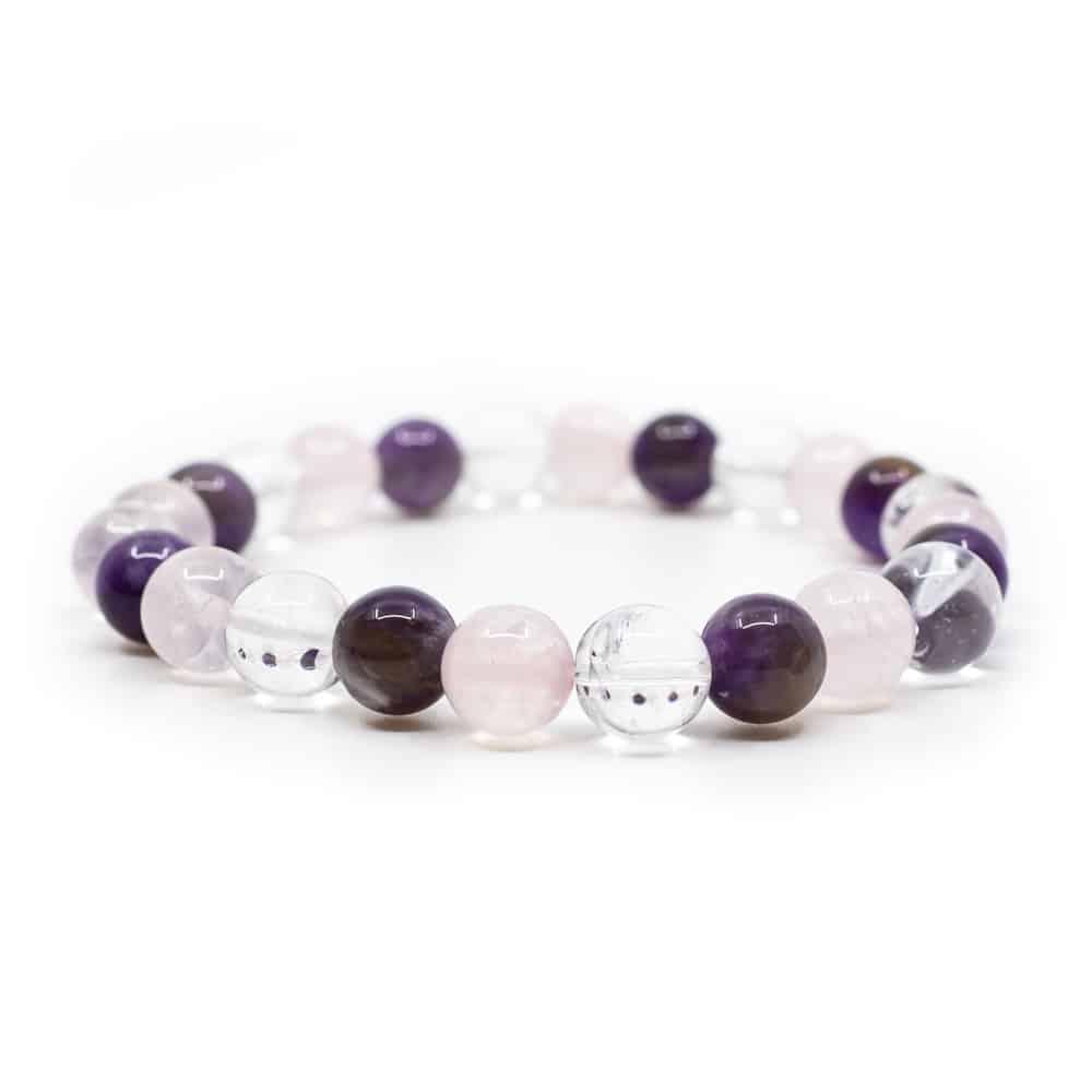 Edelsteinschmuck Armband Amethyst Rosenquarz Bergkristall Perlen