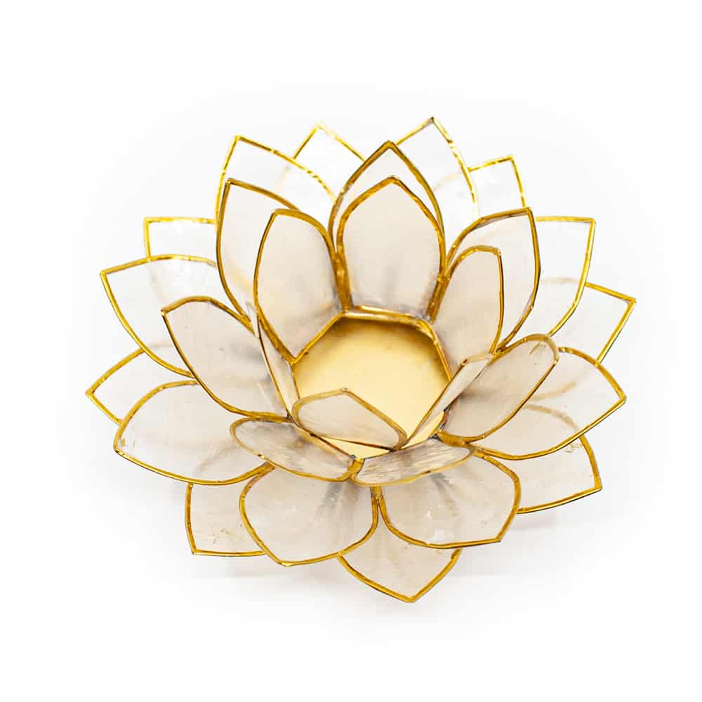 Lotusblume Stimmungslicht Teelichthalter weiß Gold auf weißem hintergrund