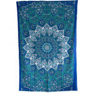Authentisches Mandala Wandtuch Baumwolle Blau/Weiß (215 x 135 cm)