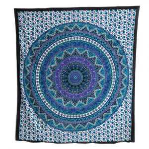 Authentische Mandala-Tapisserie Baumwolle blau/violett mit Blumen (240 x 210 cm)