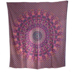 Authentisches Mandala Wandtuch Baumwolle purpur mit Elefanten und Kamelen (240 x 210 cm)