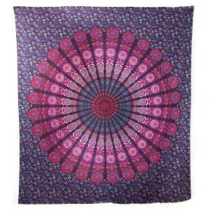 Authentisches Mandala Wandtuch Baumwolle Rot/Violett (240 x 210 cm)