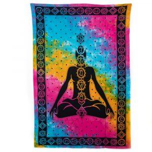Authentisches Wandtuch Baumwolle Chakra Meditation Bunt (215 x 135 cm)