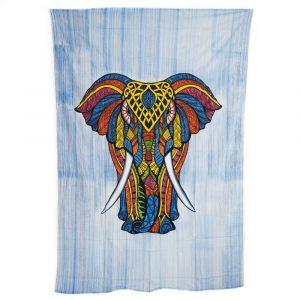 Authentisches Wandtuch Baumwolle Elefant Bunt (215 x 135 cm)