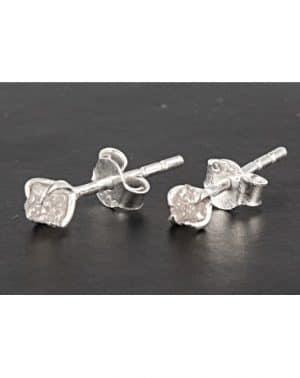 Roher Diamant Ohrstecker Silber