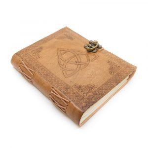 Handgefertigtes Leder-Notizbuch mit Endlosknoten (17,5 x 13 cm)