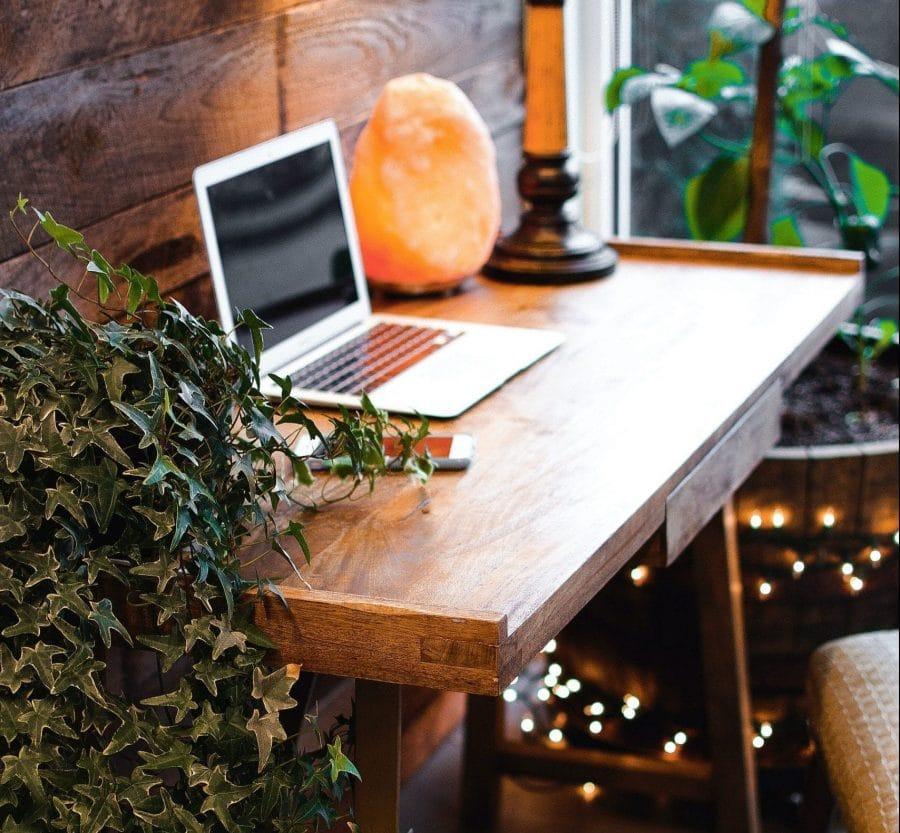 Himalaya Salzlampe neben Laptop auf Holztisch mit Pflanzen
