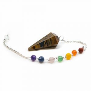 Pendel Edelstein Tigerauge Facette mit Chakra-Perlenkette