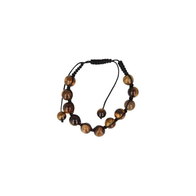 Edelsteinschmuck Shamballa Armband schwarze Schnur braune Perlen auf weißem Hintergrund