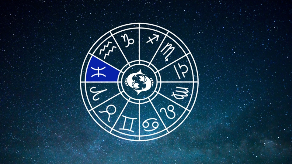 Sternzeichen Tierkreiszeichen Fische Symbole vor Sternenhimmel