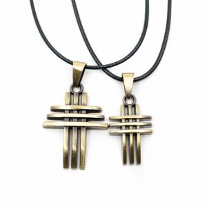 Spirituelle Anhänger Modern Kreuz Goldfarben