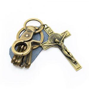 Schlüsselanhänger Jesus am Kreuz Gold
