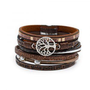 Armband Boho 6-lägig mit Lebensbaum-Charme