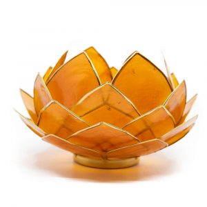Lotus Atmosphärisches Licht Orange Goldrand Groß
