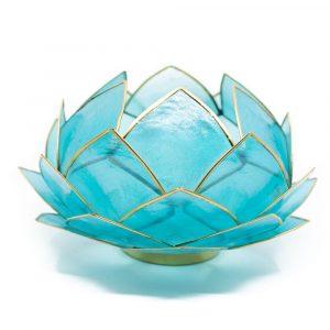 Lotus Atmosphärisches Licht Blau Goldrand Groß
