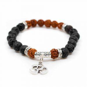 Rudraksha-Armband mit Lavastein und OM