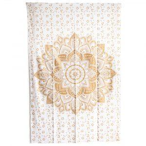 Authentisches Wandtuch Baumwolle mit Mandala Golden (215 x 135 cm)