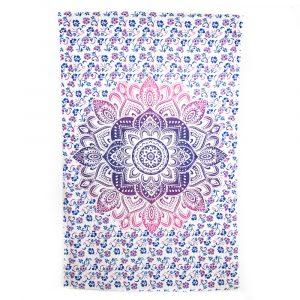 Authentisches Wandtuch Baumwolle mit rosa/blauem Mandala (240 x 210 cm)