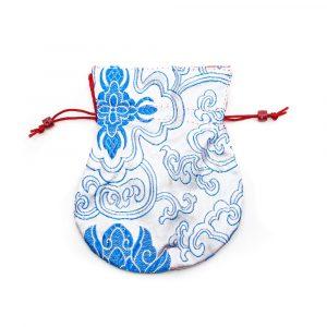 Brokat-Beutel Handgemacht - Weiß / Blau
