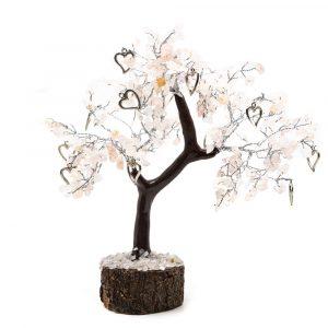 Edelstein-Baum Rosenquarz mit Herzen (22 cm)