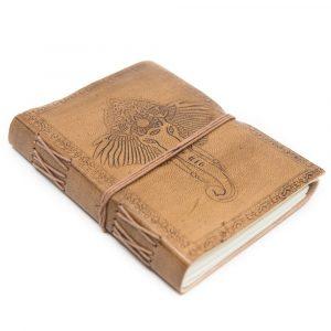 Handgefertigtes Leder-Notizbuch Ganesha (17,5 x 13 cm)