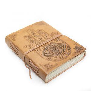 Handgemachtes Leder-Notizbuch mit Hamsahand (17,5 x 13 cm)