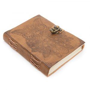 Handgemachtes Leder-Notizbuch mit Eule (17,5 x 13 cm)