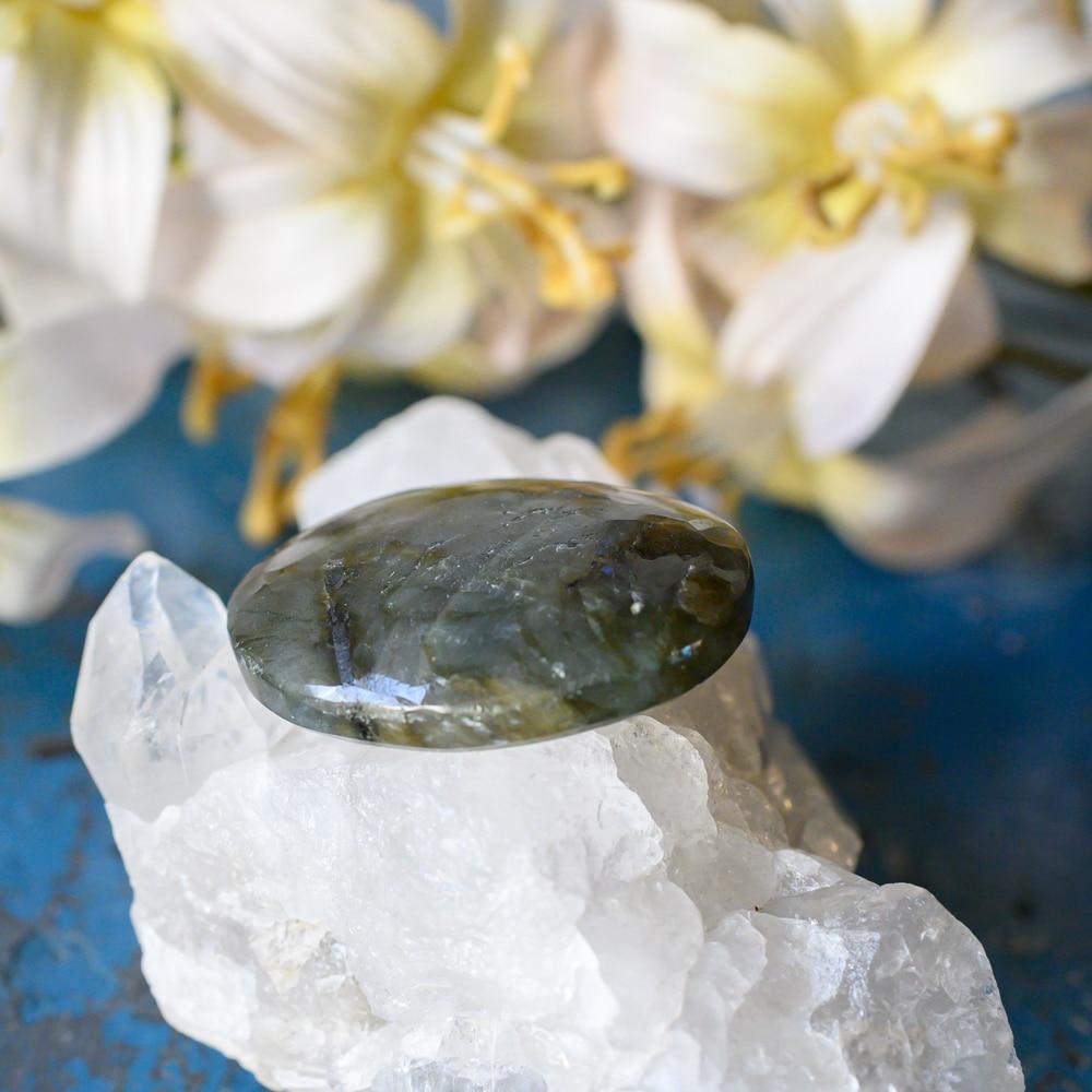 Sternzeichen Krebs Labradorit Edelstein auf Kristall mit Blumen