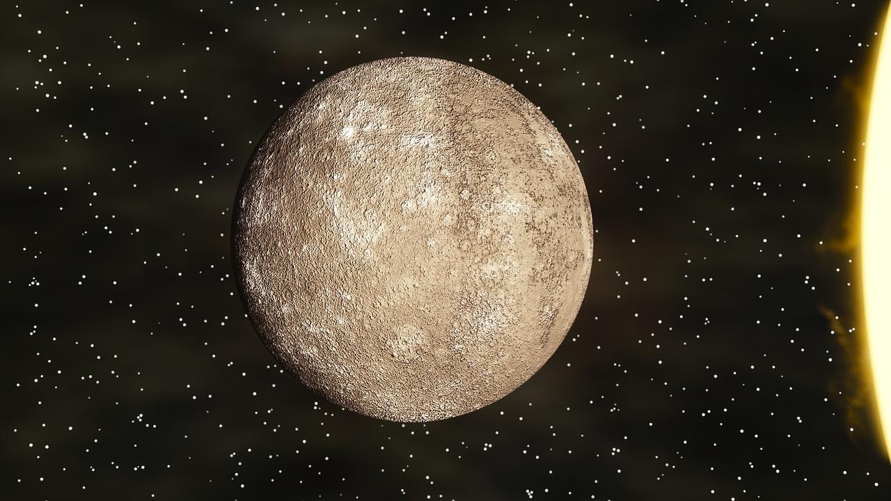 Sternzeichen Jungfrau Merkur vor Sternenhimmel mit Sonne am Rand