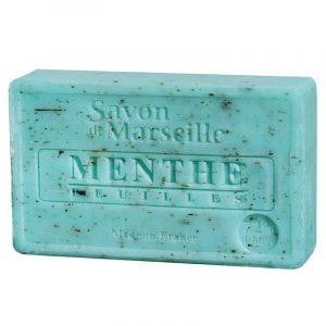 Natürliche Marseille Seife mit Minzeblättchen
