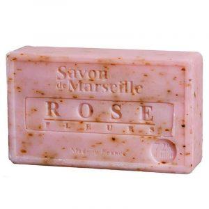 Natürliche Marseille Seife mit Rosenblütenblatt