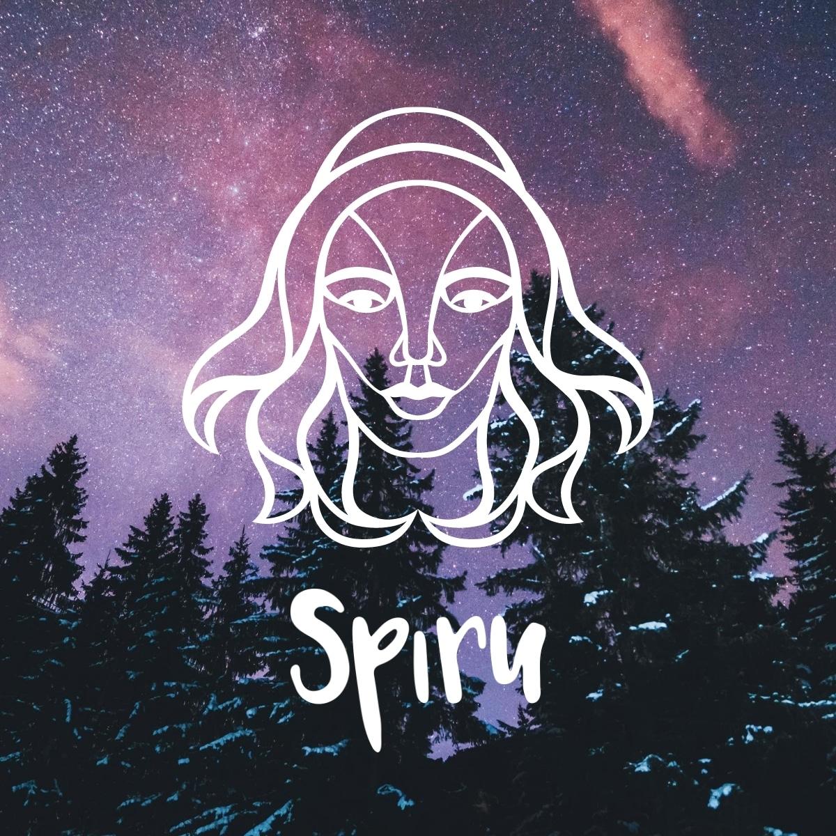 Sternzeichen Jungfrau Illustration Sternenhimmel mit Bäumen Spiru