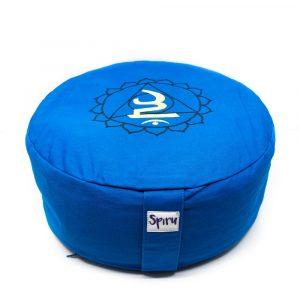 Spiru-Meditationskissen Baumwolle Blau - 5. Chakra Vishuddha - 36 x 15 cm