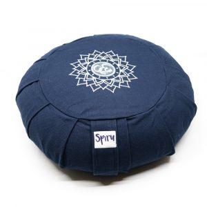 Spiru-Meditationskissen Zafu Gefaltete Baumwolle Indigo - OHM - 36 x 14 cm