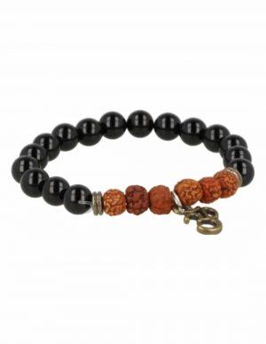 Armband Obsidian / Rhudraksha mit Ohm-Charme
