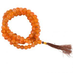 Mala Karneol, 108 Perlen mit Tasche