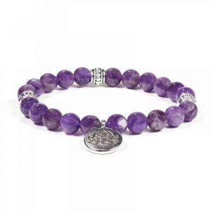 Mala/Armband Amethyst elastisch mit Lotus