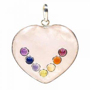 Herzförmiger Rosenquarz-Hänger 7 Chakrasteine