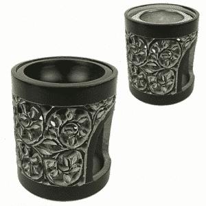 Rauchergefäß - Duftlampe Speckstein schwarz (14 cm)