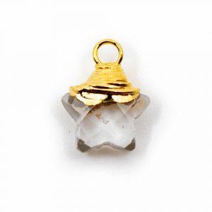 Geburtsstein-Anhänger Stern April Bergkristall 925 Silber (10 mm)