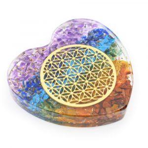 Orgonit-Herz-Chakra mit Blume des Lebens aus Kupfer