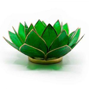 Lotus-Atmosphärisches Licht Grün 4. Chakra Goldrand