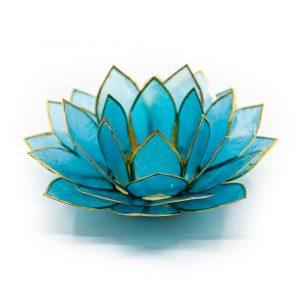 Lotus Stimmungslicht Blau Goldrand - Deluxe