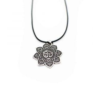 Om-Mandala-Halskette tibetisch - Silberfarben