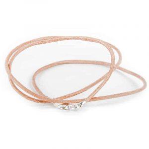 Halskette Leder mit Karabinerverschluss - hellbraun