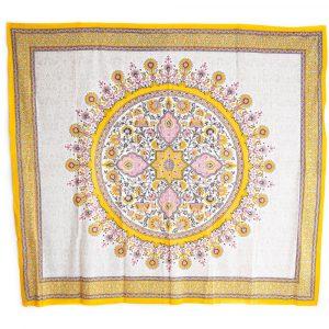 Authentisches Wandtuch Baumwolle Blüten Mandala Gelb (240 x 210 cm)