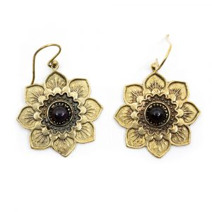 Ohrringe Blume Amethyst Gold (30 mm)