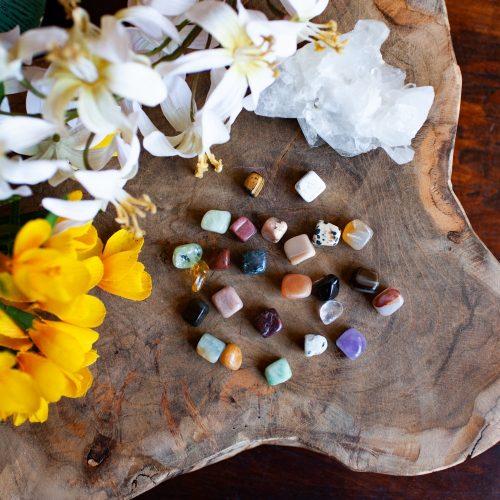 Entstehung Edelsteine mit Blumen auf holz