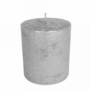 Stumpfkerze Silber (15 x 10 cm)